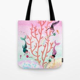 Mermaids' Coral Garden childrens' illustration Tote Bag