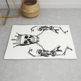Skull King and Dancing Skeletons   Vintage Skulls   Vintage Skeletons   Black and White   Rug