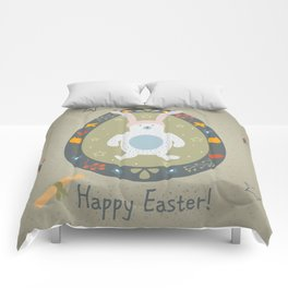 Festive Easter Egg with Cute Bear Character Comforters