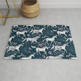 Unicorns and Stars on Dark Teal Rug