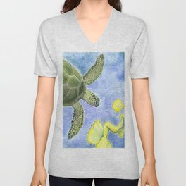The Sea Turtle and Sea Nymph Unisex V-Neck