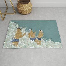 Three Ama Enveloped In A Crashing Wave Rug