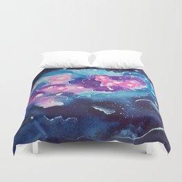 Tiny Astronaut and the Blue Nebula Duvet Cover