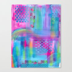 Pink with Blue Dots Canvas Print