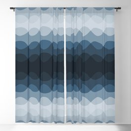 Mid Tone Ocean Blue Overlapping Wavy Line Pattern Pairs To 2020 Color of the Year Chinese Porcelain Blackout Curtain