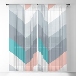 Vertical Chevron Pattern - Teal, Coral and Dusty Blues #geometry #minimalart #society6 Sheer Curtain
