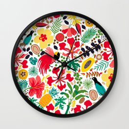 tropical botanical Wall Clock