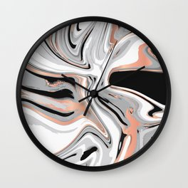 Liquid Marble with Copper Lines 015 Wall Clock