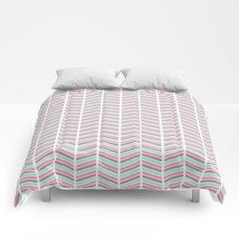Geometrical neon pink turquoise modern chevron zigzag Comforters