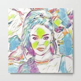 Rihanna - Celebrity Art (Illustration) Metal Print