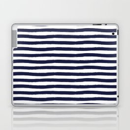 Navy Blue and White Horizontal Stripes Laptop & iPad Skin