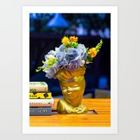 golden girls Art Prints featuring 'Golden Girls' Floral Headvase by The Horticult