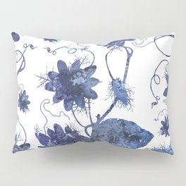 Watercolor Indigo Passion Flower Pillow Sham