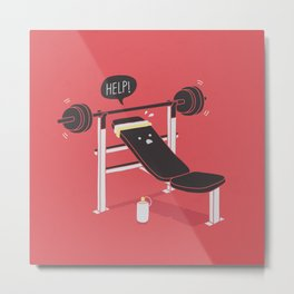 But he's always at the gym... Metal Print