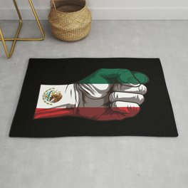 Raised Fist for Mexico | Mexican Flag Rug