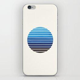 Prussian Blue Mid Century Modern Minimalist Scandinavian Colorful Stripes Geometric Pattern Round Ci iPhone Skin