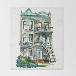Montreal building Throw Blanket