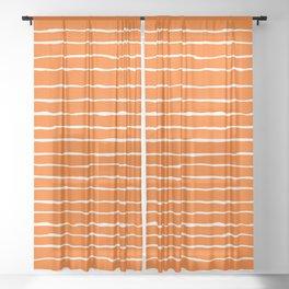 Bright Orange and White Stripes Sheer Curtain