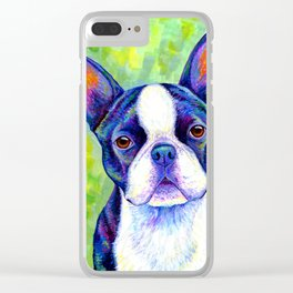 Colorful Boston Terrier Dog Clear iPhone Case