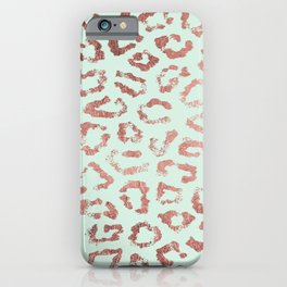 Trendy rose gold neo mint leopard animal print iPhone Case