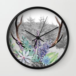Floral Stag antlers b/w Wall Clock