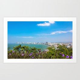 Pattaya embankment,view from the observation deck.Thailand Art Print