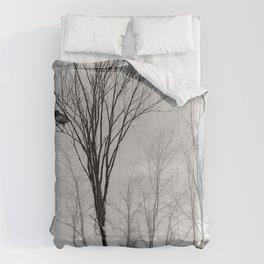 Black and White Crow Tree Fog Mist Modern Cottage Art  A532 Comforters