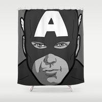secret life Shower Curtains featuring The secret life of heroes - Photobooth2-1 by Greg-guillemin