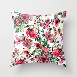 Flowers & Birds III Throw Pillow