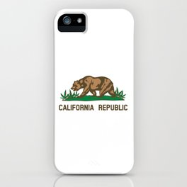 California Republic Bear with Marijuana Plants iPhone Case