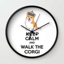 Keep Calm and Walk the Corgi Wall Clock