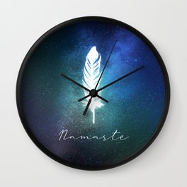 Bohemian Feather Cosmic Namaste  Wall Clock