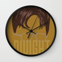 dwight schrute Wall Clocks featuring Dwight and you by Ally Simmons