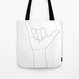 Minimal Line Art Shaka Hand Gesture Tote Bag