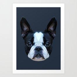 Frenchie / Boston Terrier // Navy Art Print