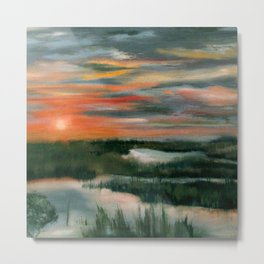 Salt Marsh At Sunset Metal Print