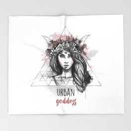 Urban Goddess Throw Blanket