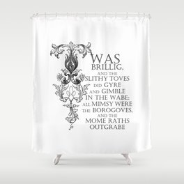 Alice In Wonderland Jabberwocky Poem Shower Curtain