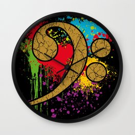 Bass Cleff on Color Splotches Wall Clock