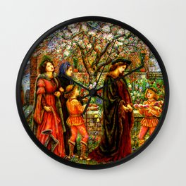 The Enchanted Garden of Messer Ansaldo - Marie Spartali Stillman Wall Clock