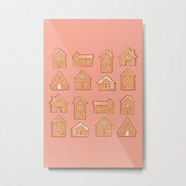 Tiny Houses - Peach Brown Beige Metal Print