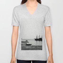 ships on a calm sea black and white Unisex V-Neck