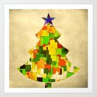 christmas tree Art Prints featuring Christmas tree by SensualPatterns