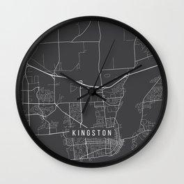Kingston Map, Canada - Gray Wall Clock