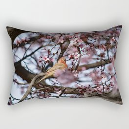 Spring Blossoms - Male House Finch Rectangular Pillow