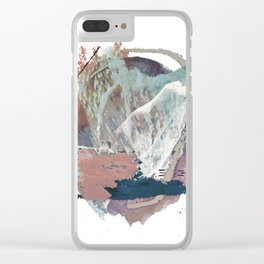 In the Clouds: a minimal mixed media piece in blues, pinks, white, and purple Clear iPhone Case