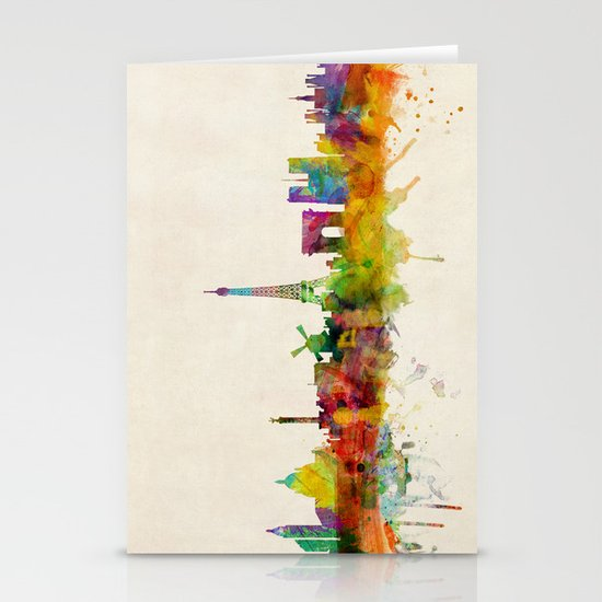 Paris Skyline Watercolor Stationery Cards
