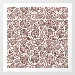 Paisley (Brown & White Pattern) Art Print