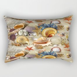 Fancy Seashells And Starfish Rectangular Pillow