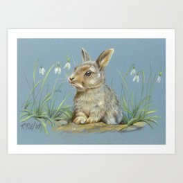Rabbit spring scene Cute bunny Pastel drawing Animal Art Illustration wildlife Decor for Pet lover Art Print